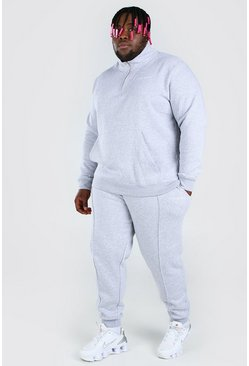Grey marl Plus Size Funnel Neck MAN Tracksuit
