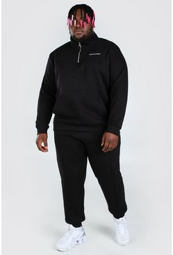 Black Plus Size Funnel Neck MAN Tracksuit