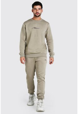 Green MAN Signature Regular Sweater Tracksuit