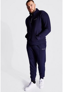 Navy Plus Size Funnel Neck MAN Tracksuit