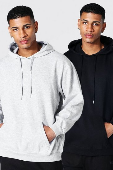 Multi 2 Pack Oversized Basic Over The Head Hoodie