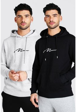 Multi 2 Pack MAN Signature Over The Head Hoodie
