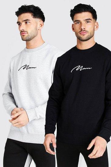 Multi 2 Pack MAN Signature Embroidered Sweatshirt