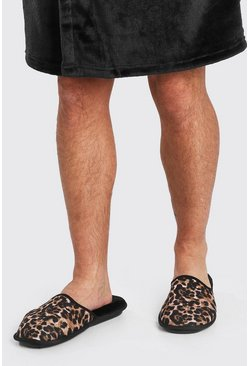 Black Leopard Print Borg Lined Slipper