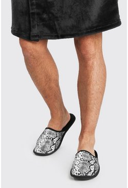 Black Snake Print Borg Lined Slipper