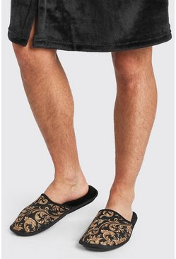 Black Baroque Print Borg Lined Slipper