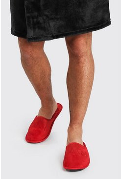 Red MAN Dash Velour Slipper