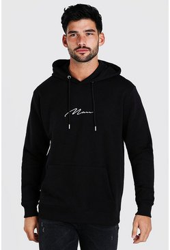 Black MAN Signature Embroidered Oversized Hoodie