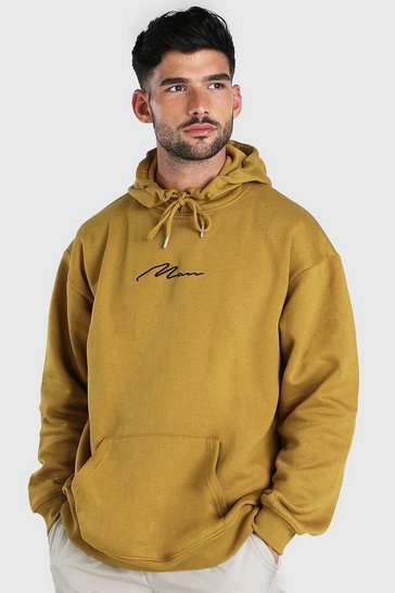 Mustard yellow MAN Signature Embroidered Oversized Hoodie