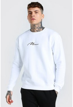 White MAN Signature Embroidered Sweater