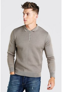 Taupe beige Textured Long Sleeve Half Zip Polo