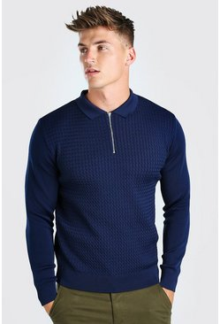 Navy Textured Long Sleeve Half Zip Polo