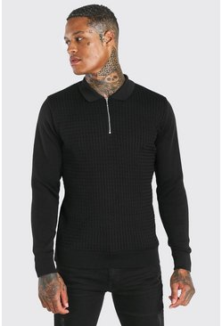 Textured Long Sleeve Half Zip Polo, Black nero