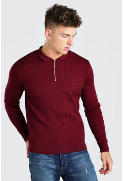Textured Long Sleeve Half Zip Polo, Burgundy rosso