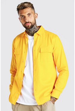 Utility Pocket Twill Overshirt, Marigold