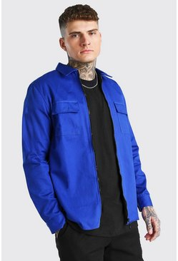 Zip Through Utility Pocket Twill Overshirt, Cobalt bleu