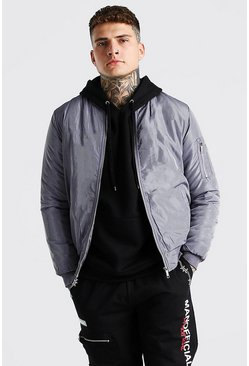 Grey Padded Bomber With Zip Pocket Sleeve
