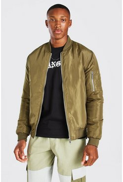 Green Padded Bomber With Zip Pocket Sleeve