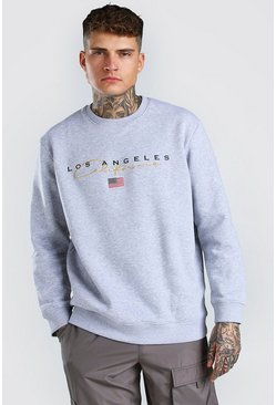 Grey marl grey Loose Los Angeles Varsity Sweat With Embroidery
