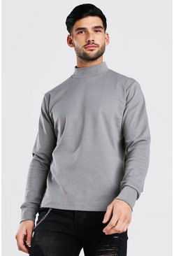 Grey Extended Neck Heavyweight Long Sleeve T-Shirt