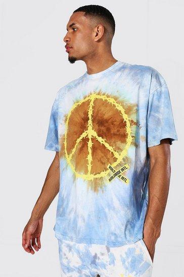 Blue Tall Oversized Peace Tie Dye T-shirt