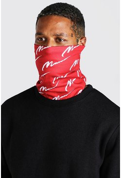 Red MAN Script All Over Jersey Snood
