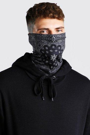 Black Bandana Print Jersey Snood
