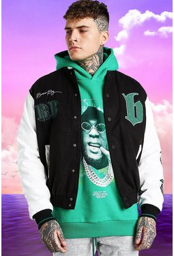 Black Burna Boy Varsity Bomber Jacket With PU Sleeves