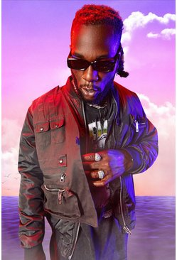 Black svart Burna Boy MA1 Bomber Jacket With Utility Vest