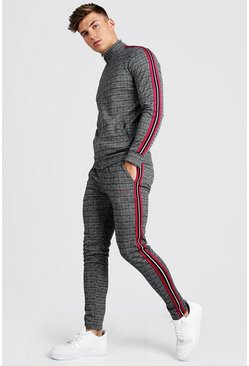 MAN Signature Skinny Fit Jacquard Tracksuit, Red rosso