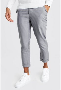 Grey Pinstripe Cropped Tailored Trousers
