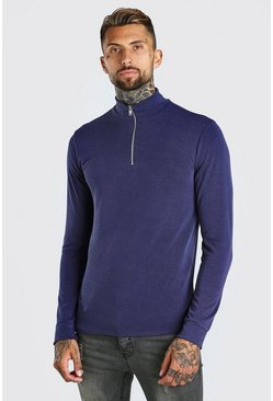 Blue Half Zip Funnel Neck Jumper