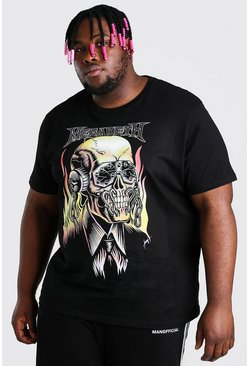 Plus Size Megadeth Skull License T-Shirt, Black negro