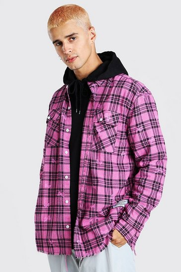 Pink MAN Official Oversized Butterfly Print Check Shirt