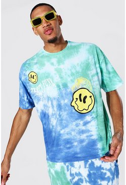 Blue blå Tall - Oversize batikmönstrad t-shirt med smiley