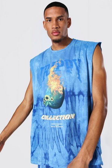 Blue Tall Oversized Flame Print Tie Dye Tank