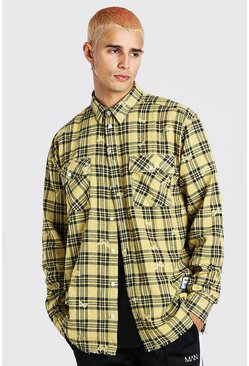 Yellow Man Official Oversized Butterfly Print Check Shirt