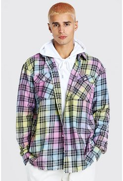 Multi MAN Official Oversized Tie Dye Check Shirt