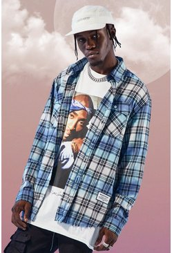 Blue MAN Official Oversized Tie Dye Check Shirt