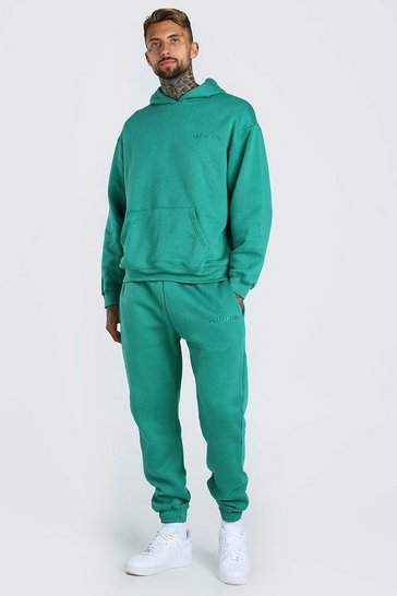 Green Oversized Official MAN Print Hooded Tracksuit
