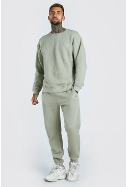Sage green Oversized Official MAN Print Sweater Tracksuit