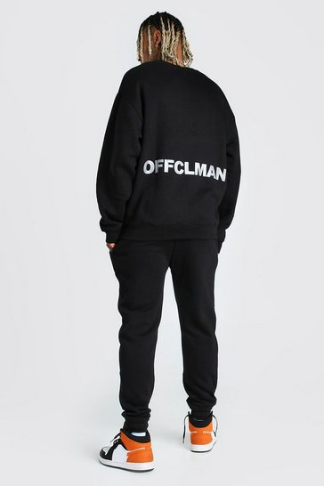 Black Oversized MAN Reflective Print Sweater Tracksuit