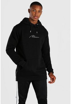 Black Longline MAN Signature Hoodie With Side Zips