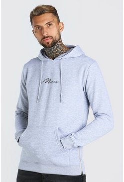 Grey marl grey Longline MAN Signature Hoodie With Side Zips