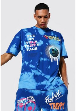 Blue Tall Oversized Drip Face Tie Dye T-shirt