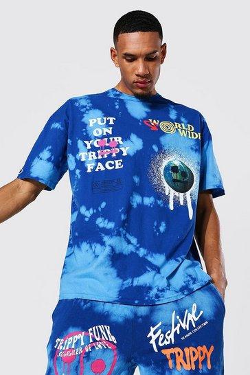 Blue Tall Oversized Drip Face Tie Dye T-shirt