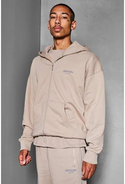 Taupe beige Official Collection Heavyweight Zip Hoodie