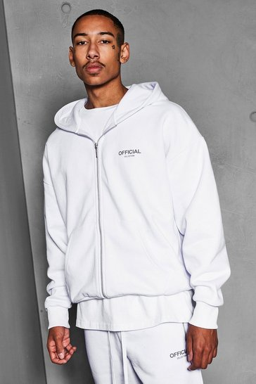 White Official Collection Heavyweight Zip Hoodie