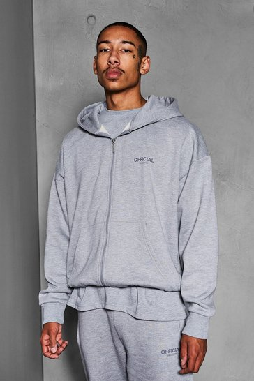Grey marl grey Official Collection Heavyweight Zip Hoodie