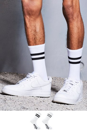 White 2 Pack Official Collection Sport Stripe Socks